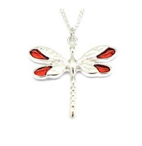 Red Enamel Wings Dragonfly Necklace